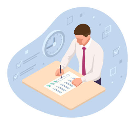 Student Filling Out Answers to Answer Sheet with Pencil. Isometrc School Exam Test Results in high school, university exam, business school. Vectores