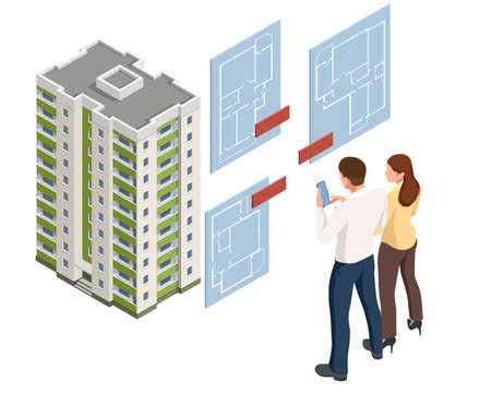 A real estate agent offers a home for rent, purchase or rent. Online real estate search. Isometric illustration Buying, selling or renting real estate
