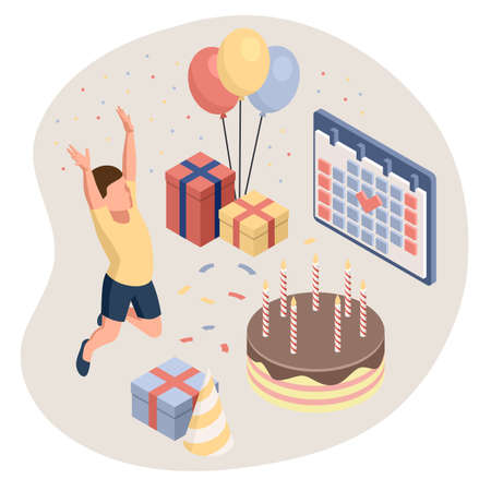 Birthday party isolated concept with colourful presents fairy lights flags balloons and sweets symbols. Kids celebrate birthday party. Isometric isolated vector illustration Vectores