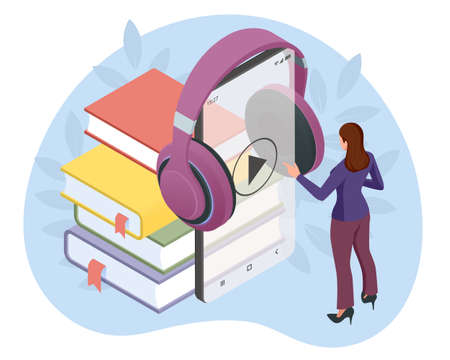 Woman listening to an audiobook. Audiobooks isometric concept. Online audiobook mobile application for smartphone screen with headphones audiobook distance education e-learning Vectores