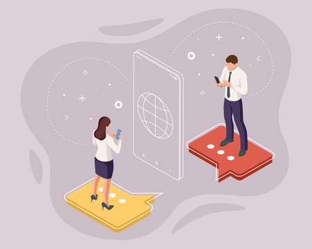 Isometric business people chatting in a social network, news, social networks, chat, dialogue