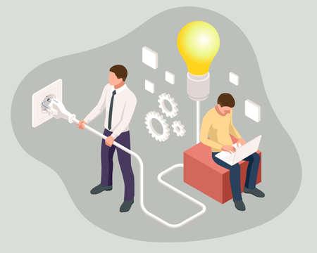 Isometric big light bulb as metaphor idea. Creative idea. New idea, innovation and solution concept