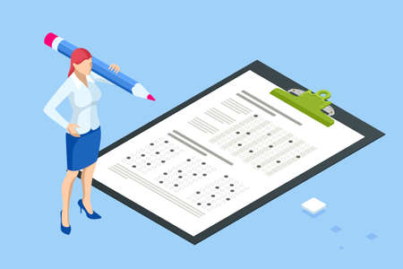 The student filling out answers to exam test answer sheet with a pencil. Education concept. Isometric vector illustration