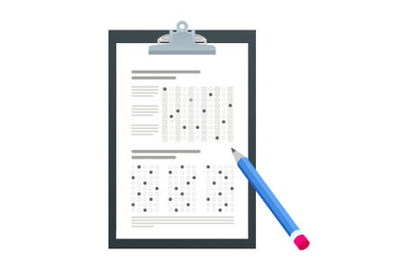 The student filling out answers to exam test answer sheet with a pencil. School and Education. Test score sheet with answers Vectores