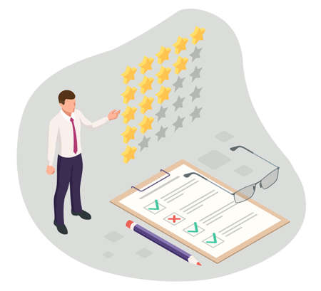 Isometric feedback, review, rating, concept of testimonials messages, notifications, feedback, 5-star rating icon.