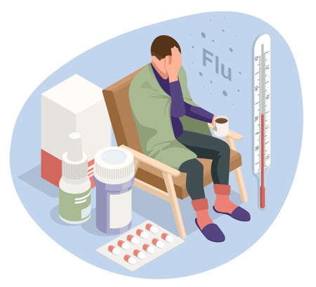 A sick upset man with a cup of tea, sitting in a chair covered with a blanket, freezes and has a fever. Sick girl with flu symptoms. Medicine Disease Illness.