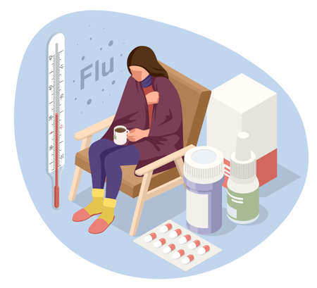 A sick upset woman with a cup of tea, sitting in a chair covered with a blanket, freezes and has a fever. Sick girl with flu symptoms. Medicine Disease Illness. Vectores