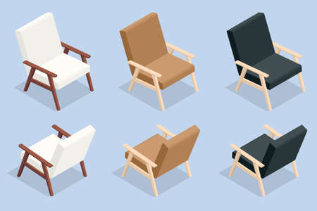 Isometric set of icons wooden comfortable armchair in white, brown and black colors. Vectores