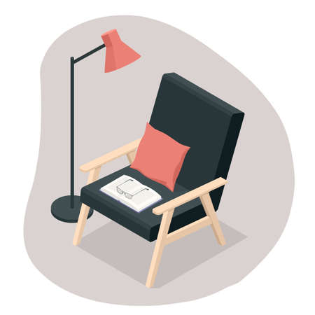 Isometric comfortable black wooden armchair with book and lamp isolated on white background. Interior poster.