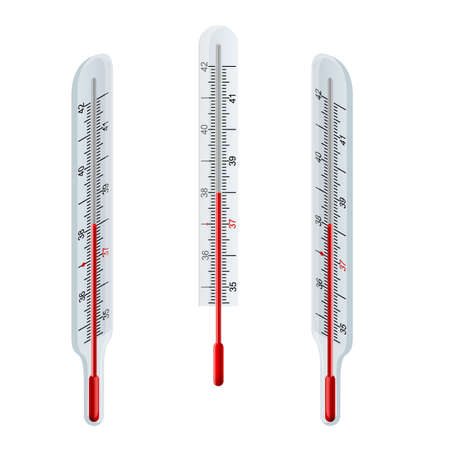 Isometric Glass Mercury Thermometer Measurement range: 32℃-42℃ (94℉-108℉) on white background. Thermometer medical. A glass thermometer for measuring the temperature of the human body.