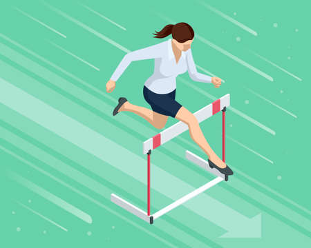 Isometric business woman jumping over an obstacle. Overcome obstacles. Business competition concept.