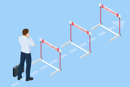 Isometric businessman thinks over how to overcome obstacles on the way to business success. Hurdle on way concept. Overcome obstacles. Business competition. Vectores