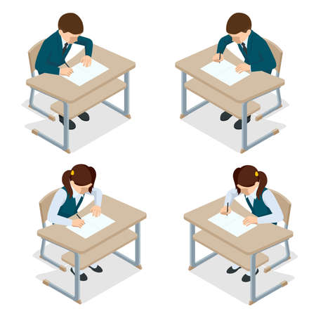 Isometric children at school sit at their desks and write. Schooling and Education. Vectores