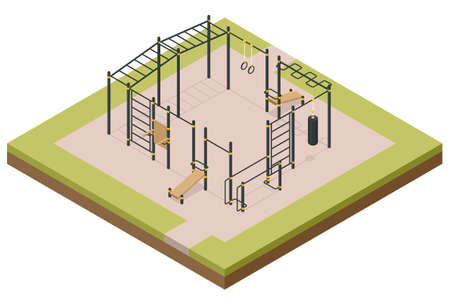 Isometric outdoor exercise equipment, outdoor sports ground. Element and equipment for urban outdoor training.