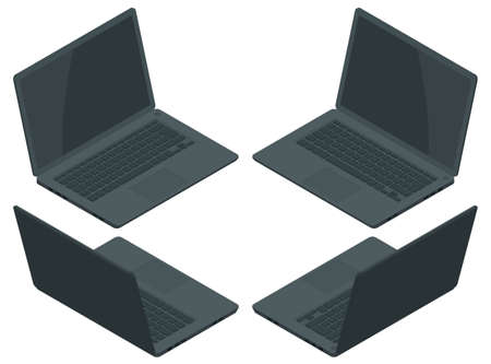Isometric Black Laptop computer realistic illustration isolated on white background. Realistic vector mockup. Office desktop on white background