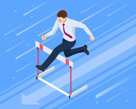 Isometric businessman jumping over obstacle. Overcome obstacles. Business competition concept.