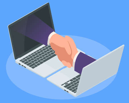 Isometric Business handshake through a laptop screen. Team and digital business concept. Internet Connection. Vectores