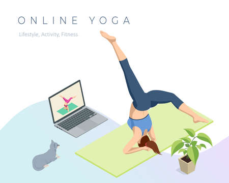 Isometric sporty young woman doing yoga practice. Fitness instructor taking online yoga classes over a video call in laptop. Healthy life concept. Vectores