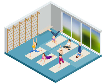 Isometric sporty young women doing yoga. Yoga Practice Exercise Class. Fitness instructor taking online yoga classes over a video call in laptop. Healthy life concept