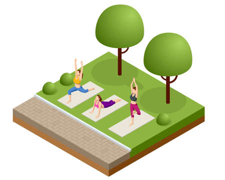 Isometric group of adults attending a yoga class outside in park. Healthy life concept.