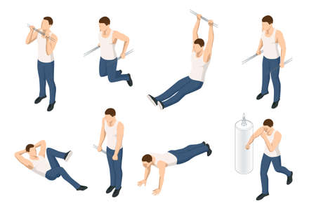 Isometric set icons of sportsman making workout, pull-ups, barbell, push-ups, weight lifting, dumbbell training. People doing fitness and crossfit workouts in many different position.