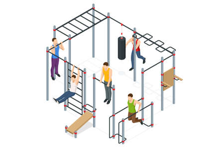 Isometric sportsmen making workout, pull-ups, barbell, push-ups, weight lifting, dumbbell training. People doing fitness and crossfit workouts in many different position.