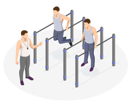 Isometric sportsman making workout, push-ups and exercises. Street workout exercises and outdoor gymnastics Ilustración de vector