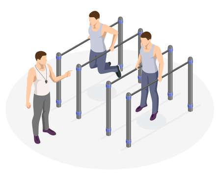 Isometric sportsman making workout, push-ups and exercises. Street workout exercises and outdoor gymnastics Illustration