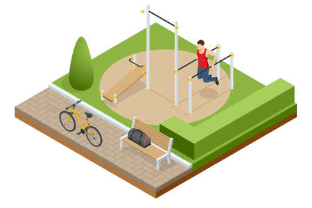 Isometric sportsman making workout, push-ups and exercises. Street workout exercises and outdoor gymnastics Иллюстрация
