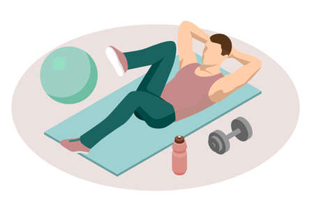 Isometric man doing fitness exercises. Sporty man in sportswear pumping press lying on mat in gym.