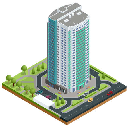 Isometric facade of a multi-storey buildin. Buildings and modern city houses. New residential buildings. Vectores