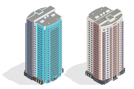 Isometric facade of a multi-storey buildin. Buildings and modern city houses. New residential buildings.  イラスト・ベクター素材