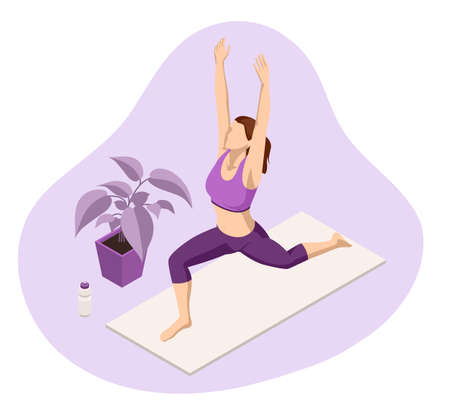 Isometric sporty young woman doing yoga practice. Healthy life concept. Vectores