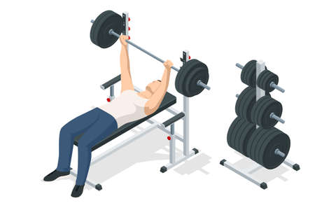 Isometric Man In Gym Exercising On The Bench Press. Sports and healthy lifestyle Illustration