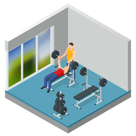 Isometric Man In Gym Exercising On The Bench Press. Sports and healthy lifestyle Vectores