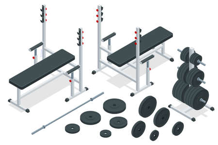 Isometric barbell and sports equipment icons set. Sports and healthy lifestyle. Bench press.