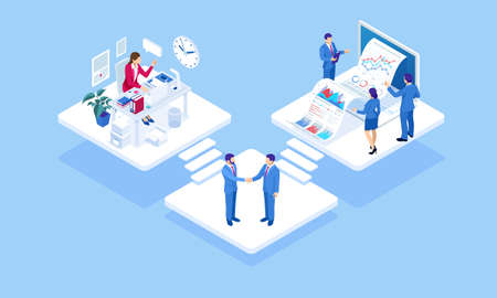 Isometric concept of business analysis, analytics, research, strategy statistic, planning, marketing, study of performance indicators. Business to Business Marketing, B2B Solution, business marketing