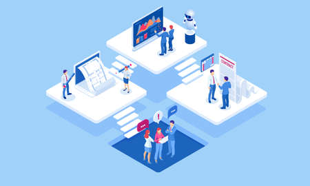 Isometric concept of business analysis, analytics, research, strategy statistic, planning, marketing, study of performance indicators. Investment in securities, smart investment, strategic management