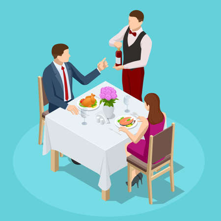 Dinner In Restaurant. Young couple having dinner in a restaurant. Man and woman sitting at the table, the waiter takes order dishes. Isometric vector illustration