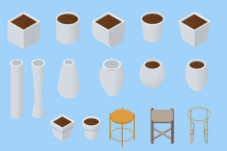 Isometric original flower pots and vases white color isolated on a background. Empty flower pots and vases