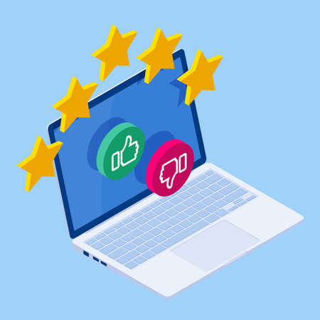 Isometric customer review or feedback concept. Online survey of customer satisfaction, election voting, product development research. Rating on customer service and user experience. 일러스트