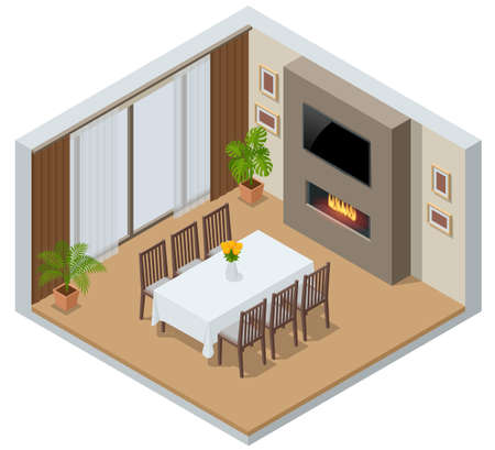 Isometric elegant dining room with window, TV and fireplace. Kitchen with the modern furniture.