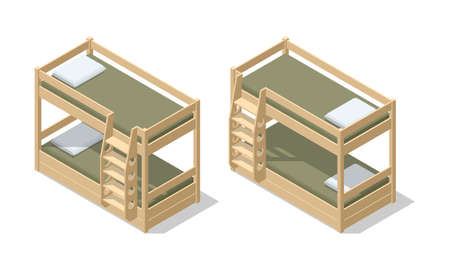 Isometric interior of children room or hostel room with bunk bed. The bunk bed with bedding isolated on the white background. Vettoriali