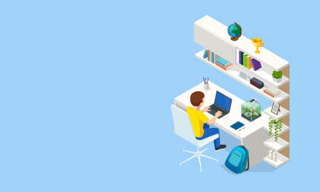Isometric Contemporary workplace for a student. Interior modern living room workspace with desk and desktop computer. Student in learning process.