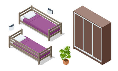 Isometric wooden bed and wardrobe isolated on white. Icons of wooden furniture. Teenage bedroom. Bedroom interior for two children.
