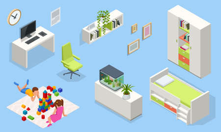 Isometric interior furniture for modern teenager room interior with comfortable bed. Idea for interior decor. Interior of modern study room for teenager Vettoriali