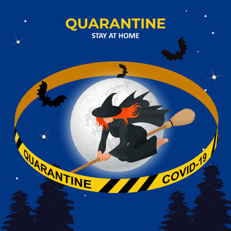 Halloween is canceled. Quarantine 2020. Ban Halloween. Witch flying on broomstick. Isometric illustration 矢量图像