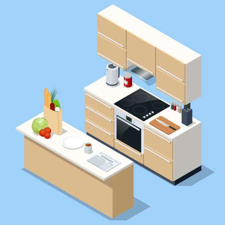 Isometric minimalist kitchen room interior with dinning furniture on a floor. Interior modern kitchen with island. 矢量图像