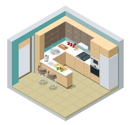 Isometric minimalist kitchen room interior with dinning furniture on a floor. Modern house interior with kitchen and dining room combination.