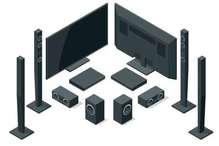 Isometric home theater, audio system isolated on white background. Home cinema speaker set. Ilustrace
